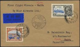 Brief ZYPERN 1935, Erstflug MISR AIRWORKS  Nicosia-Lydda/Palästina (04.08.1935), Rückseitig ER RAMLE Und Lydda Ankunftss - Sonstige - Europa