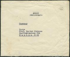 """Brief PALÄSTINA 1936, Brief Aus HAIFA Ohne Frankatur, Rückseitig Aufkleber """"Aus Dem Bei Der Insel Kreta Verunglückten Fl - Luftpost"""