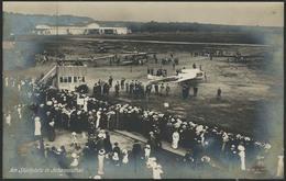 """Brief 1913, Fotokarte """"Am Startplatz In Johannisthal"""" Mit Mehreren Fluggeräten Und Wartender Menschenmenge, Mit 5 Pfg Un - Luftpost"""