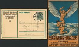"""Brief 1914, Prinz-Heinrich-Flug, Offizielle Farbige Litho-Karte Mit Daten Und Eindruck """"Kontrollstation Mannheim, Flugpo - Luftpost"""