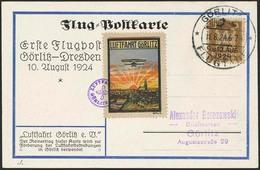 """Brief 1924, Flugtage Görlitz, Geflogene Farbige Sonderkarte """"Erste Flugpost Görlitz-Dresden"""" Mit 3 Pfg Und SST 9.8.24 So - Luftpost"""