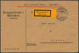 Brief 1933, Zuleitung Zum Imperial Airways Flug Kairo-Kapstadt, Als Postsache Portofreier, Oben Minimal Verkürzter Brief - Luftpost