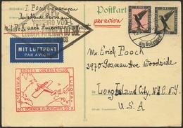 Brief Amerikaflug 1930, Karte Ab Friedrichshafen 13.11.30 Nach Long Island / NY Mit 1 Und 3 Mk Flugpost, Beide Flugstemp - Luftpost