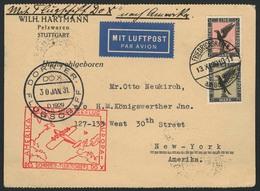 Brief Amerikaflug 1930, Karte Ab Friedrichshafen 13.11.30 Mit 1 Und 3 Mk Flugpost, Bordstempel 30.1.31 Und Deutscher Rot - Luftpost