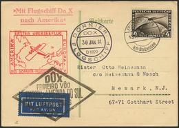 Brief Amerikaflug 1930, Karte 30.1.31 Mit 4 RM Zeppelin, Marke Zf., Nach Newark Mit Sammler-Grußtext, Beide Flugstempel  - Luftpost