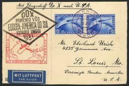 Brief Amerikaflug 1931, Postaufnahme Lissabon, Bordpost 30.1., Karte Mit 2 X 2 RM SAF In Hochwertiger MeF, Beide Flugste - Luftpost