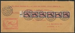 Brief Amerikaflug 1931, Bordpost 1.5., Postaufnahme In Las Palmas, Brief Mit 6 X 1 Mk Flugpost Im Senkrechten Streifen M - Luftpost