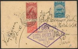 Brief Amerikaflug 1931, Brasilianische Post, Brief Ab Sao Luiz De Maranhao 7.8. Mit Bunter MiF Nach Belem, Violetter Flu - Luftpost