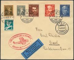 Brief Schweizflug 1932, Brief Ab Zürich 14.11.32 Nach Wildegg Mit U.a. Gotthard Komplett In Bunter MiF, Flugstempel Und  - Luftpost
