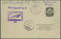 Brief Schweizflug 1933, Karte Ab Passau 5.9. Mit 30 Pfg Hindenburg In EF, Flugstempel Sowie Ankunft Staad 5.9. Vs., Leit - Luftpost