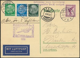 """Brief Schweizflug 1933, Karte Ab Passau 5.9. Mit 30 Pfg In Bunter MiF, Flugstempel Und Verzögerungs-L2 """"Wegen Beschädigu - Luftpost"""