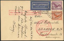 Brief EUROPA 24.5.31, Deutsche Seepost-Aufgabe, Passagierpost, Karte Mit 65 Pfg In MiF Und Seepost-SST 25.8.32 Nach Dres - Luftpost