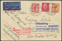 Brief BREMEN 26.7.31, Brief Ab Nordseebad Wangerooge 21.7.31 Mit Bunter MiF Nach Philadelphia, Nachbringerflug Nach Cher - Luftpost