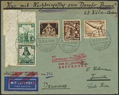 Brief BREMEN 24.6.36, Nachbringeflug Nach Cherbourg, Brief Ab Mannheim Flugplatz 23.6.36 Mit Bunter MiF, U.a. Zusammendr - Luftpost