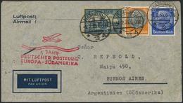 """Brief 1935, Brief Ab Hamburg 1.2.35 Nach Buenos Aires Mit 2 Mk Kölner Dom Und Hindenburg-MiF, Vs. Roter Flug-SST """"1 Jahr - Luftpost"""