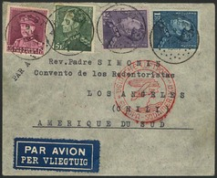 """Brief 1937, BELGIEN, Brief Ab Attert 9.6.37 Mit Bunter MiF Nach Chile, Flugstempel """"b"""", Rs. Etwas Rau Geöffnet, Transit  - Luftpost"""
