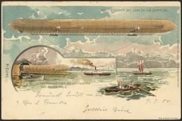Brief ERSTER AUFSTIEG 1900, Farbige Litho-Karte Des Luftschiffes über Der Schwimmenden Halle, Mit 5 H. Und Schiffsstempe - Zeppeline