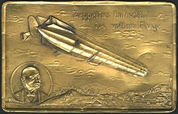 """Brief METALL-POSTKARTE Aus Messingblech Mit Bild Des LZ 4 über Berglandschaft Und Inschrift """"Zeppelins Luftschiff Im Vol - Zeppeline"""