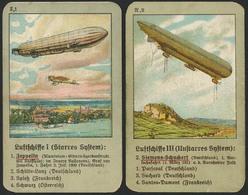 QUARTETT-Spielkarten, Drei Serien Mit Je Vier Bildern Der Verschiedenen Luftschiff-Modelle, 12 Farbige Litho-Spielkarten - Zeppeline