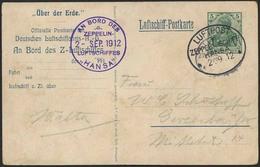 """Brief Hansa 1912, Rundfahrt Ab Und Bis Hamburg, Farbige Delag-Karte """"Über Der Erde"""" Mit Eingedrucketer 5 Pfg Und Flugste - Zeppeline"""