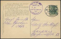 """Brief Sachsen 1913, Rundfahrt Ab Und Bis Leipzig, Fotokarte """"Sachsen Verlässt Halle"""" Mit 5 Pfg, Kleiner Eck-ZF, Und Flug - Zeppeline"""