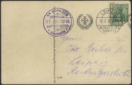 """Brief Sachsen 1913, Fotokarte """"Sachsen Startbereit"""" Mit Zerrissen Verklebter 5 Pfg, Band-SST """"XII. Turnfest ..."""" 17.7.   - Zeppeline"""