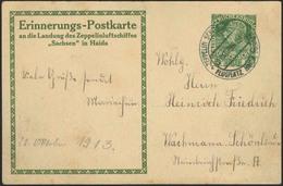 """Brief Sachsen 1913, Abgebrochene Fahrt Nach Haida 1913, österreichische Post, 5 H Sonder-GSK Mit Bildmotiv """"Zeppelin Hoc - Zeppeline"""