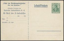 Brief Fahrt Der Reichstagsmitglieder, Farbige DELAG-Karte Mit Eingedruckter 5 Pfg, Ungebraucht, Pracht - Zeppeline