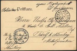"""Brief 1905, Militaria-Karte Eines Soldaten Bei Der """"Kgl. B. Luftschiffer Abteilung"""" Als Portofreie Soldatenpost """"Eigene  - Zeppeline"""