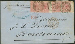 """Briefstück 1872, Briefvorderseite Mit Zwei Paaren Der 4 P. Victoria, Mit Klaren Abschlägen """"B 53"""" Aus Port-Louis Nach BO - Mauritius (1968-...)"""