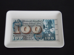 CENDRIER. VIDE POCHE EN MELAMINE . BILLET SUISSE DE 100 FRANCS TYPE ST MARTIN 15X10,5 Cm - Altri