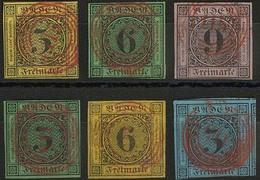 Gestempelt 115 - RASTATT In Rot, Je Klar Und Zentrisch Auf Sechs Verschiedenen Farbfrischen Werten In Insgesamt Recht Or - Deutschland