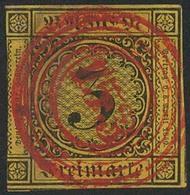 Gestempelt 153 - WALDSHUT Leuchtend Rot Und Zentrisch Auf 3 Kr, Dreiseitig Breitrandiges Prachtstück - Deutschland