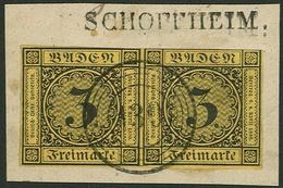 Briefstück 3 Kr Auf Orangegelb, Farbfrisches, Nur Oben Teils Leicht An Oder Auf Randlinie Geschnittenes, Sonst Vollrandi - Baden