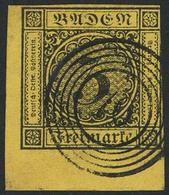 "Gestempelt 3 Kr Auf Gelb, Bogenecke Links Unten, Rechts Teils Angeschnitten, Klarer Fünfringstempel ""70"" - KIPPENHEIM, F - Baden"
