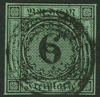 """Gestempelt 6 Kr Auf Blaugrün, Farbfrisches, Allseits Vollrandiges Prachtstück Mit Zentrischem Fünfringstempel """"19"""" - BRU - Baden"""