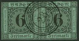 Gestempelt 6 Kr Auf Blaugrün, Farbfrisches Waagerechtes Paar, Links Und Unten Vollrandig, Oben Und Rechts Auf Oder An Ra - Baden