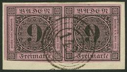 Briefstück 9 Kr. Auf Lilarosa, Farbfrisches Und Tieffarbiges Waagerechtes Paar Auf Briefstück, Nur Unten Links Kurz Touc - Baden
