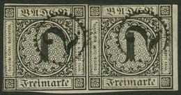 Gestempelt 1 Kr Schwarz, Vom Rechten Bogenrand Stammendes Waagerechtes Paar In Typischem Badenschnitt, Je Marke Klar Auf - Baden