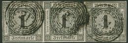 Gestempelt 1 Kr Schwarz, Farbfrischer, Allseits Vollrandiger (!) Waagerechter Dreierstreifen, Jede Marke Einzeln Gestemp - Baden