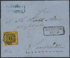 Brief 6 Kr Auf Gelb Auf Vollständigem, Innen Gelochtem Faltbrief MANNHEIM 25.9.1859 Nach Saarbrücken, Leuchtend Farbfris - Baden