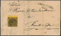 Brief 6 Kr. Schwarz Auf Gelb, Herrlich Frisches Oberrandstück Mit Teilen Der Nachbarmarken Auf Brief Ab RADOLFZELL 17 JU - Baden