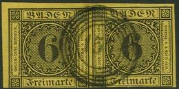 Gestempelt 6 Kr Auf Gelb, Farbfrisches, Aus Linker Oberer Bogenecke Stammendes, Unten Angeschnittenes Waagerechtes Paar, - Baden