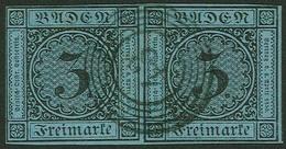 Gestempelt 3 Kr Auf Blau, Farbfrisches, Lupen- Bis Vollrandiges Waagerechtes Paar Mit Zentrisch Klar Aufgesetztem Fünfri - Baden