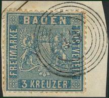 """Briefstück 3 Kr Lebhaftpreußischblau, Einwandfrei Vollzähnig Und Gut Zentriert (+75%!) Sowie Klar Gestempelt """"48"""" - GENG - Baden"""