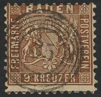 """Gestempelt 9 Kr Lebhaftbraun, Farbfrische, Allseits Vollzähnige Marke Mit Zentrisch Aufgesetztem Fünfringstempel """"35"""" -  - Baden"""