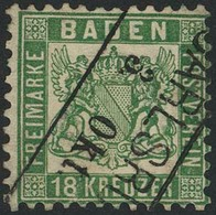 Gestempelt 18 Kr Grün Mit Zentrisch Diagonal Und Klar Aufsitzendem Ra2 CARLSRUHE 3. Okt., Unten Randriss Geschlossen, Da - Baden