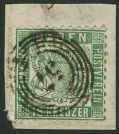 """Briefstück 18 Kr Dunkelopalgrün, Tieffarbig Mit Klarem Fünfringstempel """"57"""" - HEIDELBERG Auf Briefstück In Ursprüngliche - Baden"""