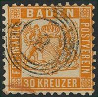 Gestempelt 30 Kr. Lebhaftgelborange, Sauber Mit Fünfringstempel 8 Und Teil Eines Transitstempels Entwertet, Kleine Unzul - Baden