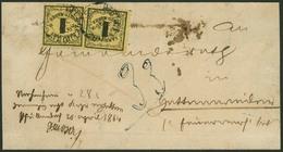 Briefstück 1 Kr Auf Mittelgelbem, Dünnerem Papier, Zwei Tieffarbige Exemplare Auf Verkürzter Faltbriefhülle, Je Marke K2 - Ohne Zuordnung